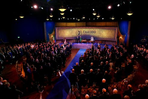 Ceremonial commemoration of the centenary of Dail Eireann's inaugural meeting. Photograph: Maxwell