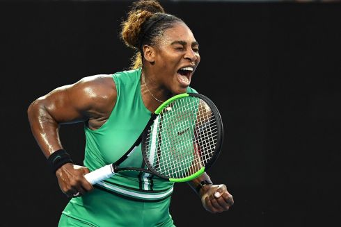 Serena Williams after a point success against Romania's Simona Halep during their women's singles match on day eight of the Australian Open tennis tournament in Melbourne. Williams emerged the victor. Photograph: AFP/Getty Images