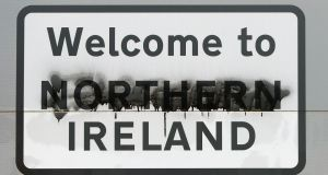 A road sign on the Border between Donegal and Derry. Photograph: Niall Carson/PA Wire