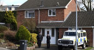 Police on duty outside the home of former Russian double agent Sergei Skripal in March 2018. File photograph: Chris J Ratcliffe/AFP/Getty Images
