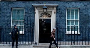British prime minister Theresa May outside  10 Downing Street. She has rejected calls to rule out a no-deal Brexit or to soften her negotiating red lines in order to unlock a cross-party majority for a softer Brexit.  Photograph: Getty Images