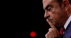 Carlos Ghosn repeated his intent to clear his name in court in a statement released on Monday. Photograph: Philippe Wojazer/Reuters
