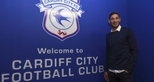 Emiliano Sala after signing for Cardiff City last Saturday. Photograph: Cardiff City FC/Getty Images