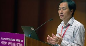 He Jiankui: drew condemnation when he revealed the birth of twins whose genes had been altered with the editing technique known as Crispr. Photograph: Alex Hofford/EPA