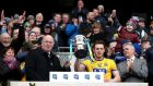 2018 Division Two champions Roscommon:  Conor Devaney lifts the league trophy in Croke Park. Photograph: Inpho/Bryan Keane.