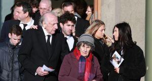 Charlie and Maureen, parents of Orla Church,   leaving the church at Donnycarney, Dublin, surrounded by family members, nieces and nephews. Photograph Nick Bradshaw for The Irish Times