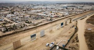 Eight border wall prototypes on display in California, US. File photograph: Josh Haner/The New York Times