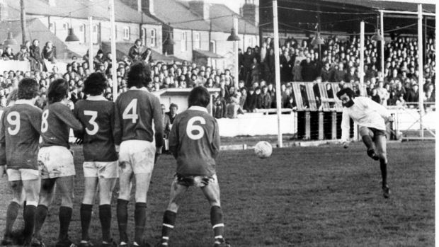 Best takes a free kick against Shelbourne in Harold's Cross. Photo: Irish Examiner archive