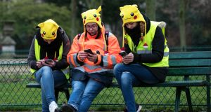 Protesters wearing Pikachu hats take part in a Women's Gilets Jaunes protest in front of the Eiffel Tower on January 20th. Photograph: Ian Langsdon/EPA