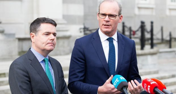 Minister for Finance  Paschal Donohoe and Tánaiste   Simon Coveney, who is also Minister for Foreign Affairs and Trade with responsibility for Brexit. Photo: Tom Honan