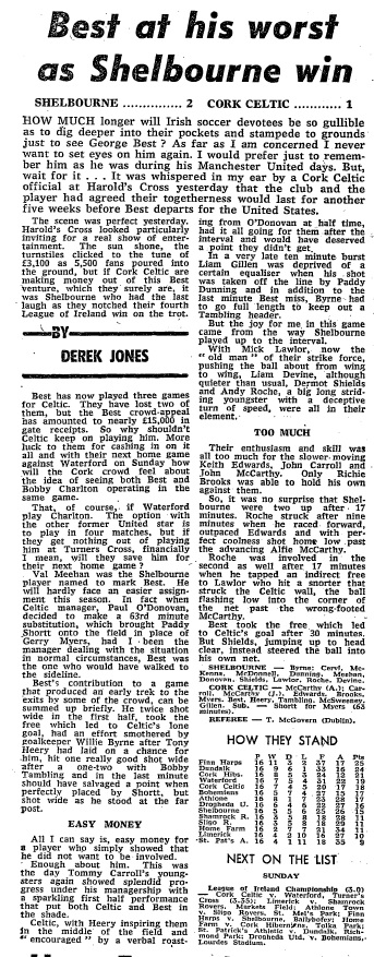 The Irish Times report from the day after Best played in Dublin against Shels. Photo: The Irish Times archive