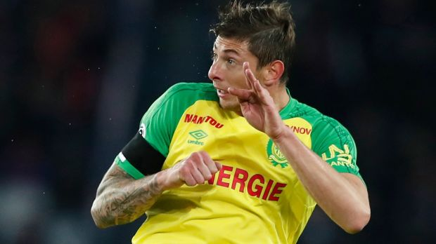 Argentine soccer player Emiliano Sala in action during the soccer ligue 1 match between Paris Saint Germain and FC Nantes in Paris. Photograph: Ian Langsdon/EPA
