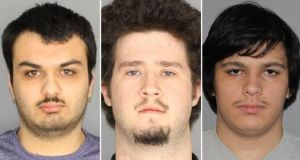 Photo provided of, from left, Brian Colaneri, Andrew Crysel and Vincent Vetromile, who were arrested and charged with plotting a terror attack. Photograph: Greece Police Department/The New York Times