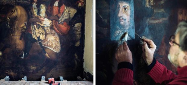 Oscar de la Renta treasure: the restoration is expected to be done by May; (right) Benoît Janson, a restoration specialist, works on the painting. Photograph: Julien Mignot/New York Times
