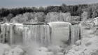 Parts of Niagara Falls freeze over in sub-zero temperatures
