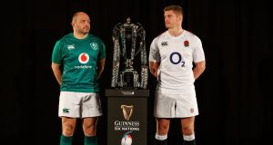 Ireland's Rory Best and England's Owen Farrell at the 2019 Six Nations launch in London. Photo: Bryan Keane/Inpho