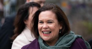 Sinn Féin leader Mary Lou McDonald pictured arriving for the centenary commemorations  in the Mansion House on Monday  to mark the anniversary of the inaugural public meeting of Dáil Éireann in 1919. Photograph: Tom Honan