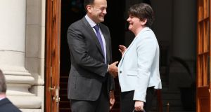 Taoiseach Leo Varadkar with  DUP leader  Arlene Foster. The DUP is now afraid the British government or the House of Commons will ditch the all-UK backstop, leaving the Northern Ireland one in place and deepening the potential sea border. That gives the DUP and Dublin a powerful shared interest in getting the withdrawal agreement through largely unaltered. Photograph Nick Bradshaw