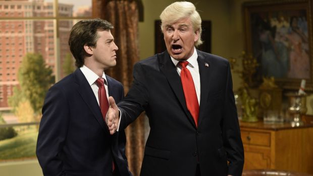 Alec Baldwin (R) as Donald Trump on Saturday Night Live with Alex Moffat as Paul Manafort. Photograph: Will Heath/NBC/NBCU/Getty Images