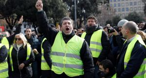 Taxi drivers protest in Barcelona at what they claim is a failure by authorities to regulate the activities of digital ride-sharing companies. Photograph: EPA