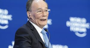 "Wang Qishan, China's vice-president, insisted China's growth rate in 2018 of 6.6 per cent was still ""a pretty significant number, not low at all"". Photograph: Jason Alden/Bloomberg"