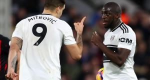Aboubakar Kamara and Aleksandar Mitrovic argue over who takes a penalty against Fulham in December. Photograph: Clive Rose/Getty