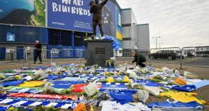 Tributes to Emiliano Sala outside the Cardiff City Stadium. Photograph: Ben Birchall/PA