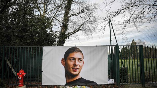 A picture of Emiliano Sala by the entrance of Nantes' training centre. Photograph: Loic Venance/AFP/Getty