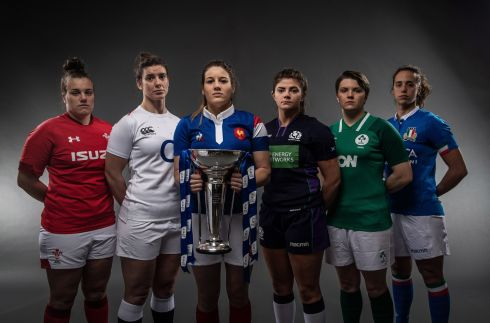 LAUNCH DAY: Pictured from left to right are Wales' Carys Phillips, England's Sarah Hunter, Gaelle Hermet of France, Ireland's Ciara Griffin, Scotland's Lisa Thomson and Italy's Manuela Furlan at the launch of the 2019 Guinness 6 Nations Rugby Championship Launc at, The Hurlingham Club, Ranelagh Gardens in London. Photograph: Billy Stickland/Inpho