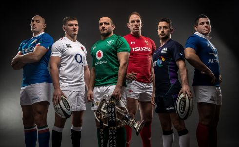 CHAMPIONS: Pictured from left to right are Italy's Sergio Parisse, England's Owen Farrell, Ireland's Rory Best, Wales' Alun Wyn Jones, Scotland's Graig Laidlaw and France's Guilhem Guirado at the launch of the 2019 Guinness Six Nations Championship Launch at The Hurlingham Club, Ranelagh Gardens in  London. Photograph: Billy Stickland/Inpho