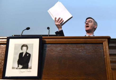 NOT FOR TURNING: Chairman of the European Research Group (ERG), Jacob Rees-Mogg speaks above a photograph of former British Prime Minister Margaret Thatcher, during a meeting of The Bruges Group, a pro-Brexit think tank in London on January 23rd. Photograph: Facundo Arrizabalaga/EPA