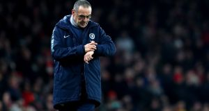 "Chelsea manager Maurizio Sarri had accused his players of being ""extremely difficult to motivate"" after Saturday's meek defeat at Arsenal. Photograph: Catherine Ivill/Getty Images"