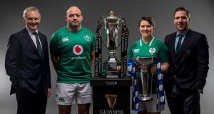 Ireland head coach Joe Schmidt and captain Rory Best with Ireland Women's captain Ciara Griffin and Ireland Women's Head Coach Adam Griggs at the Six Nations launch event in London. Photograph: Billy Stickland/Inpho