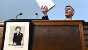 Jacob Rees-Mogg, chairman of the European Research Group (ERG),  speaks above a photograph of former British prime minister Margaret Thatcher, during a meeting of pro-Brexit think tank the Bruges Group in London on Wednesday. Photograph: Facundo Arrizabalaga/EPA