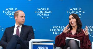 Prince William  and New Zealand's   prime minister    Jacinda Ardern discuss mental health  during the 49th annual meeting of the World Economic Forum in Davos, Switzerland. Photograph:  Laurent Gillieron/EPA