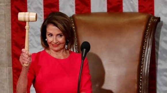 Nancy Pelosi, Speaker of the House, has denied Trump permission to give his State-of-the-Union speech at Congress during the shutdown. Photograph: Kevin Lamarque/Reuters