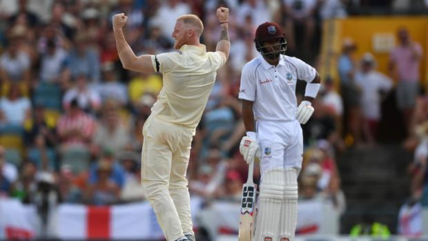Ben Stokes celebrates the wicket of Darren Bravo. Photograph: Shaun Botterill/Getty