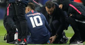 Neymar was forced off injured during PSG's French Cup win over Strasbourg. Photograph: Charles Platiau/Reuters