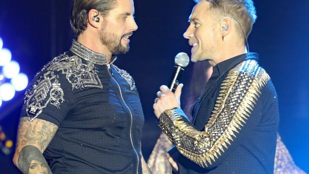Keith Duffy and Ronan Keating of Boyzone on stage at the SSE Arena, Belfast, as part of the band's Thank You & Goodnight farewell tour. Photograph: Niall Carson/PA Wire