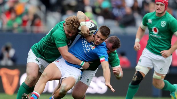 Luca Sperandio is tackled by Finlay Bealham and Dave Kilcoyne during Ireland's win over Italy in Chicago. Photograph: Dan Sheridan/Inpho