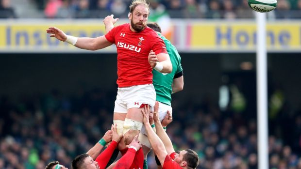 Alun Wyn Jones during Wales' Six Nations defeat in Dublin in 2018. Photograph: Bryan Keane/Inpho