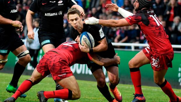 Liam Williams in action for Saracens against Lyon. Photograph: Jean-Philippe Ksiazek/Getty/AFP