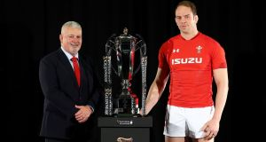 Wales coach Warren Gatland with captain Alun Wyn Jones. Photograph: Clive Rose/Getty
