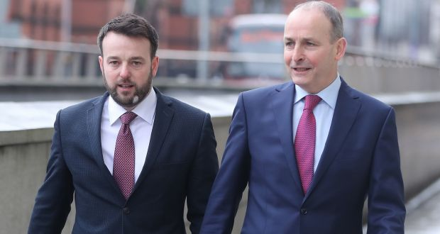 Colum Eastwood of the SDLP and Micheal Martin of Fianna Fáil arriving for at a joint press conference in Belfast. Photograph: Niall Carson/PA Wire