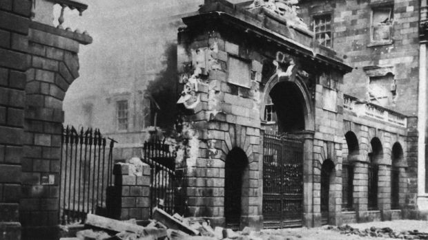 Destruction at the the Four Courts during The Easter Rising in 1916. Photograph:: Photo12/UIG/Getty Images.