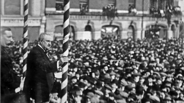 John Redmond addressing a public meeting at the Parnell Monument in 1912. Photograph: Independent News And Media/Getty Images.