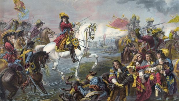 The Battle of the Boyne, which took place in 1690 near Drogheda, was fought between the armies of the deposed King James II of England and Prince William of Orange. Photograph: Universal History Archive/UIG via Getty Images.