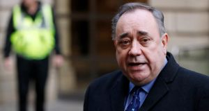 Former first minister of Scotland Alex Salmond gives a statement to the media after his court appearance at the Edinburgh Sheriff Court. Photograph: Russell Cheyne/Reuters