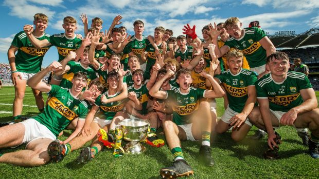 Kerry players celebrate after their All-Ireland minor football championship final win over Galway last year – their fifth title in a row at the grade. Photograph: Tommy Dickson/Inpho