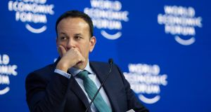 Taoiseach Leo Varadkar  in the Congress Hall during the 49th annual meeting of the World Economic Forum in Davos, Switzerland. Photograph:  EPA/Gian Ehrenzeller